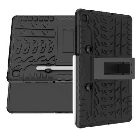 Двухкомпонентный Противоскользящий Гибридный Противоударный Чехол для Samsung Galaxy Tab S6 Lite 10.4 с Подставкой Черный