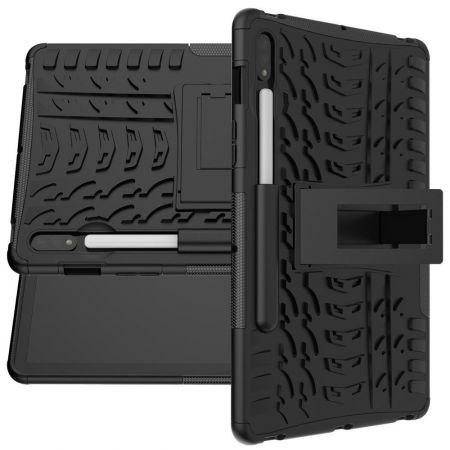 Двухкомпонентный Противоскользящий Гибридный Противоударный Чехол для Samsung Galaxy Tab S7 с Подставкой Черный