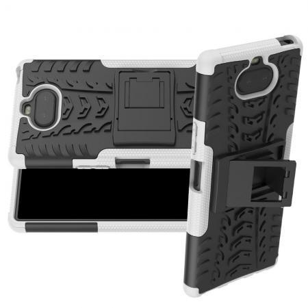 Двухкомпонентный Противоскользящий Гибридный Противоударный Чехол для Sony Xperia 20 с Подставкой Белый