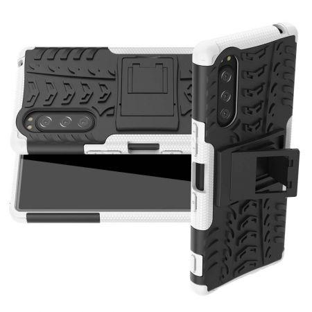 Двухкомпонентный Противоскользящий Гибридный Противоударный Чехол для Sony Xperia 5 с Подставкой Белый