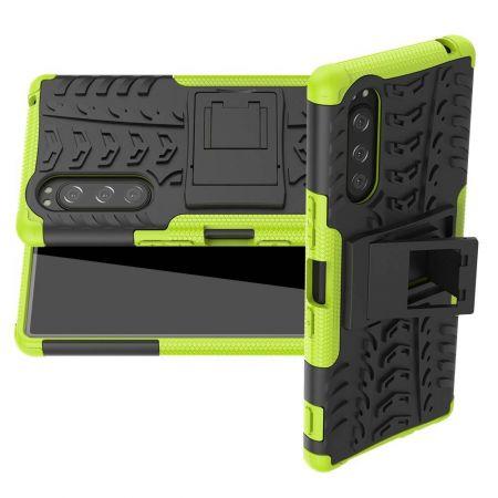 Двухкомпонентный Противоскользящий Гибридный Противоударный Чехол для Sony Xperia 5 с Подставкой Зеленый