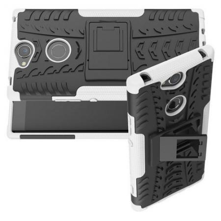 Двухкомпонентный Противоскользящий Гибридный Противоударный Чехол для Sony Xperia XA2 Plus с Подставкой Белый