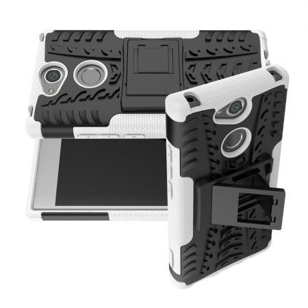 Двухкомпонентный Противоскользящий Гибридный Противоударный Чехол для Sony Xperia XA2 с Подставкой Белый