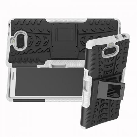 Двухкомпонентный Противоскользящий Гибридный Противоударный Чехол для Sony Xperia 10 с Подставкой Белый