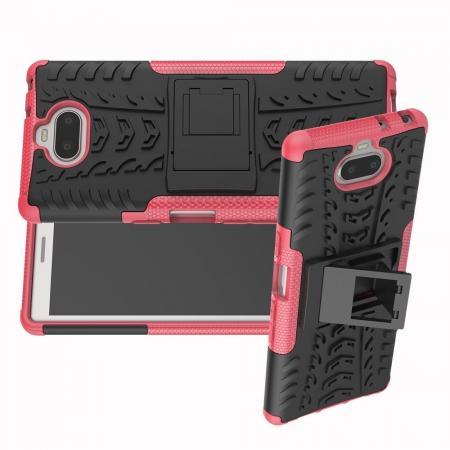 Двухкомпонентный Противоскользящий Гибридный Противоударный Чехол для Sony Xperia 10 с Подставкой Розовый