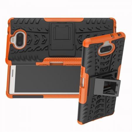 Двухкомпонентный Противоскользящий Гибридный Противоударный Чехол для Sony Xperia 10 с Подставкой Оранжевый