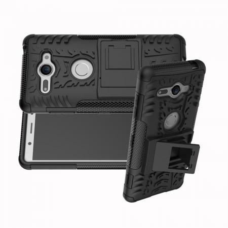 Двухкомпонентный Противоскользящий Гибридный Противоударный Чехол для Sony Xperia XZ2 Compact с Подставкой Черный