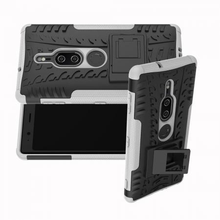 Двухкомпонентный Противоскользящий Гибридный Противоударный Чехол для Sony Xperia XZ2 Premium с Подставкой Белый