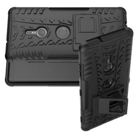 Двухкомпонентный Противоскользящий Гибридный Противоударный Чехол для Sony Xperia XZ3 с Подставкой Черный