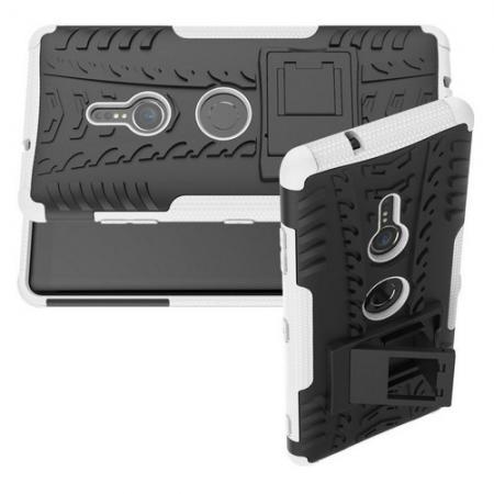 Двухкомпонентный Противоскользящий Гибридный Противоударный Чехол для Sony Xperia XZ3 с Подставкой Белый
