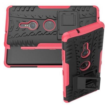 Двухкомпонентный Противоскользящий Гибридный Противоударный Чехол для Sony Xperia XZ3 с Подставкой Розовый