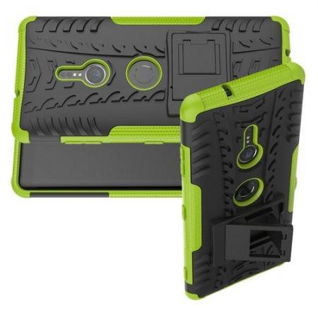 Двухкомпонентный Противоскользящий Гибридный Противоударный Чехол для Sony Xperia XZ3 с Подставкой Зеленый