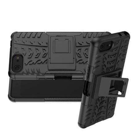 Двухкомпонентный Противоскользящий Гибридный Противоударный Чехол для Sony Xperia XZ4 Compact с Подставкой Черный