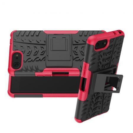 Двухкомпонентный Противоскользящий Гибридный Противоударный Чехол для Sony Xperia XZ4 Compact с Подставкой Розовый