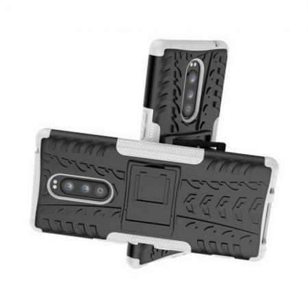 Двухкомпонентный Противоскользящий Гибридный Противоударный Чехол для Sony Xperia 1 с Подставкой Белый
