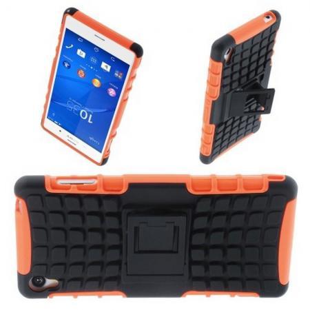 Двухкомпонентный Противоскользящий Гибридный Противоударный Чехол для Sony Xperia Z3 с Подставкой Оранжевый