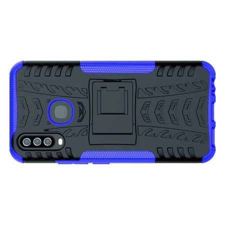 Двухкомпонентный Противоскользящий Гибридный Противоударный Чехол для Vivo Y12 / Y15 / Y17 с Подставкой Фиолетовый