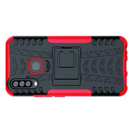 Двухкомпонентный Противоскользящий Гибридный Противоударный Чехол для Vivo Y12 / Y15 / Y17 с Подставкой Красный