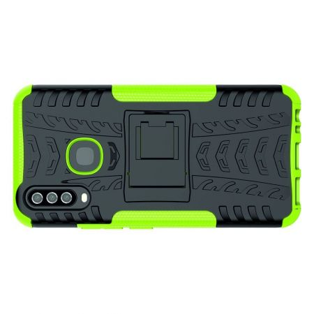 Двухкомпонентный Противоскользящий Гибридный Противоударный Чехол для Vivo Y12 / Y15 / Y17 с Подставкой Зеленый