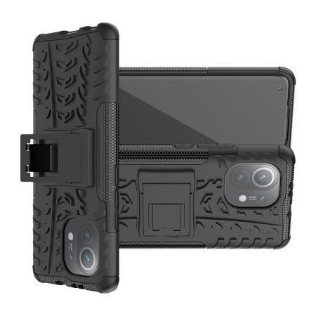 Двухкомпонентный Противоскользящий Гибридный Противоударный Чехол для Xiaomi Mi 11 с Подставкой Черный