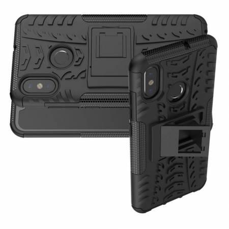Двухкомпонентный Противоскользящий Гибридный Противоударный Чехол для Xiaomi Mi 8 с Подставкой Черный