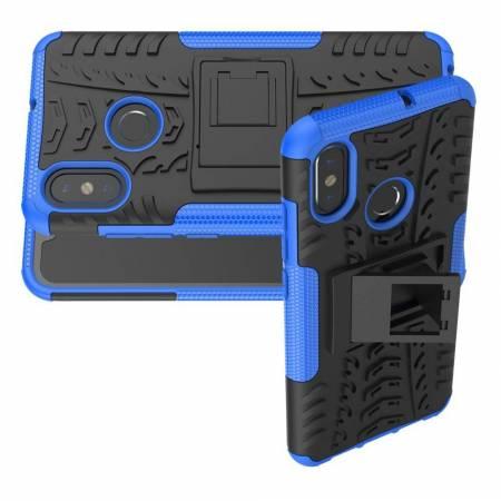 Двухкомпонентный Противоскользящий Гибридный Противоударный Чехол для Xiaomi Mi 8 с Подставкой Синий