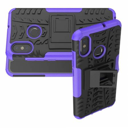 Двухкомпонентный Противоскользящий Гибридный Противоударный Чехол для Xiaomi Mi 8 с Подставкой Фиолетовый