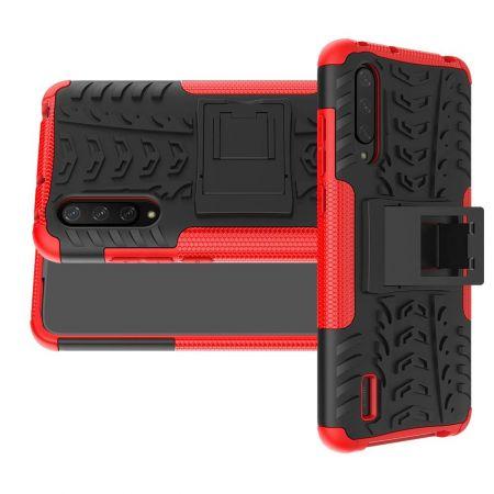 Двухкомпонентный Противоскользящий Гибридный Противоударный Чехол для Xiaomi Mi 9 Lite с Подставкой Красный / Черный