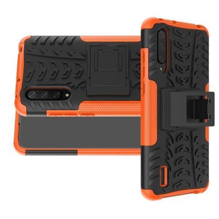 Двухкомпонентный Противоскользящий Гибридный Противоударный Чехол для Xiaomi Mi 9 Lite с Подставкой Оранжевый / Черный
