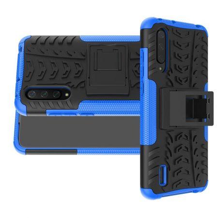 Двухкомпонентный Противоскользящий Гибридный Противоударный Чехол для Xiaomi Mi 9 Lite с Подставкой Синий / Черный