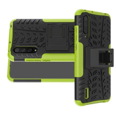 Двухкомпонентный Противоскользящий Гибридный Противоударный Чехол для Xiaomi Mi 9 Lite с Подставкой Зеленый / Черный