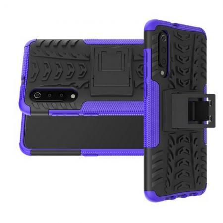 Двухкомпонентный Противоскользящий Гибридный Противоударный Чехол для Xiaomi Mi 9 с Подставкой Фиолетовый