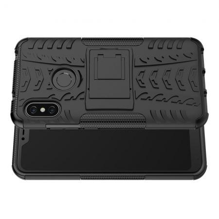 Двухкомпонентный Противоскользящий Гибридный Противоударный Чехол для Xiaomi Mi A2 Lite / Redmi 6 Pro с Подставкой Черный