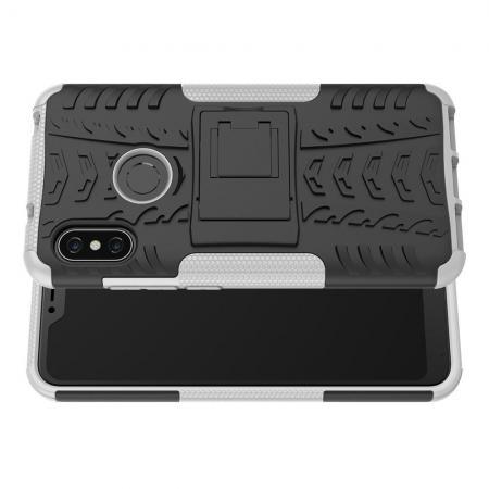Двухкомпонентный Противоскользящий Гибридный Противоударный Чехол для Xiaomi Mi A2 Lite / Redmi 6 Pro с Подставкой Белый