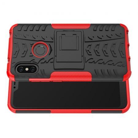 Двухкомпонентный Противоскользящий Гибридный Противоударный Чехол для Xiaomi Mi A2 Lite / Redmi 6 Pro с Подставкой Красный