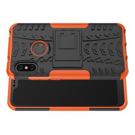 Двухкомпонентный Противоскользящий Гибридный Противоударный Чехол для Xiaomi Mi A2 Lite / Redmi 6 Pro с Подставкой Оранжевый