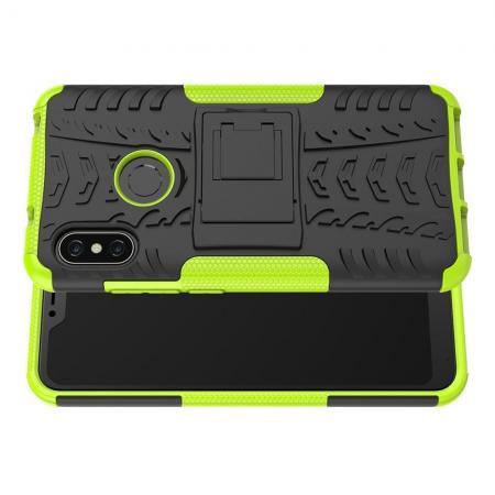 Двухкомпонентный Противоскользящий Гибридный Противоударный Чехол для Xiaomi Mi A2 Lite / Redmi 6 Pro с Подставкой Зеленый