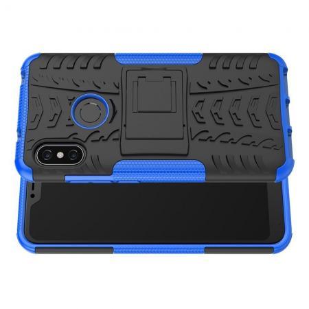 Двухкомпонентный Противоскользящий Гибридный Противоударный Чехол для Xiaomi Mi A2 Lite / Redmi 6 Pro с Подставкой Синий
