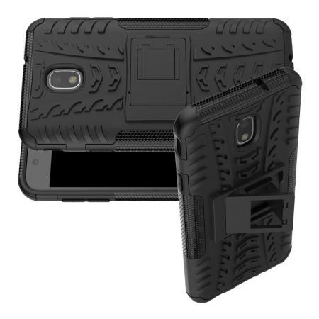 Двухкомпонентный Противоскользящий Гибридный Противоударный Чехол для Samsung Galaxy J7 2018 с Подставкой Черный