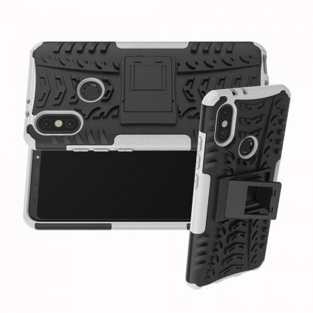 Двухкомпонентный Противоскользящий Гибридный Противоударный Чехол для Xiaomi Mi A2 / Mi 6X с Подставкой Белый