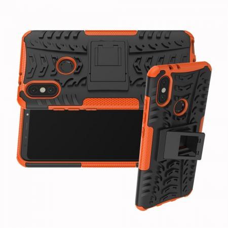 Двухкомпонентный Противоскользящий Гибридный Противоударный Чехол для Xiaomi Mi A2 / Mi 6X с Подставкой Оранжевый