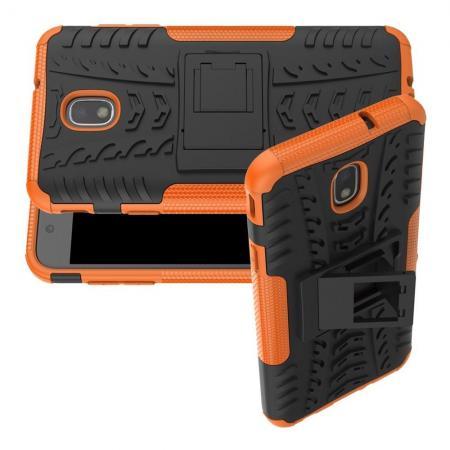 Двухкомпонентный Противоскользящий Гибридный Противоударный Чехол для Samsung Galaxy J7 2018 с Подставкой Оранжевый
