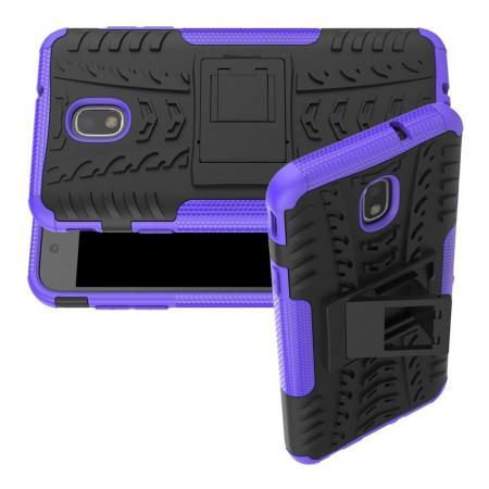 Двухкомпонентный Противоскользящий Гибридный Противоударный Чехол для Samsung Galaxy J7 2018 с Подставкой Фиолетовый