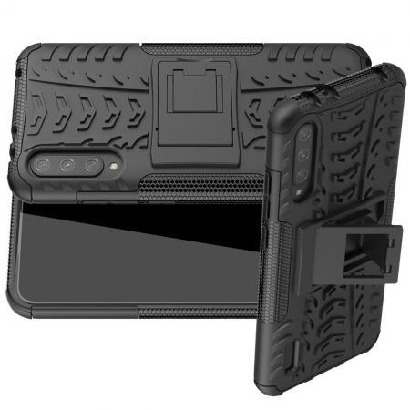 Двухкомпонентный Противоскользящий Гибридный Противоударный Чехол для Xiaomi Mi A3 с Подставкой Черный