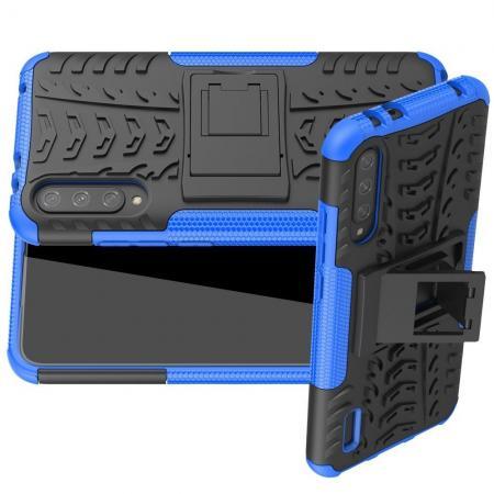 Двухкомпонентный Противоскользящий Гибридный Противоударный Чехол для Xiaomi Mi A3 с Подставкой Синий / Черный