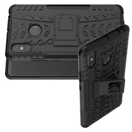 Двухкомпонентный Противоскользящий Гибридный Противоударный Чехол для Xiaomi Mi Max 3 с Подставкой Черный