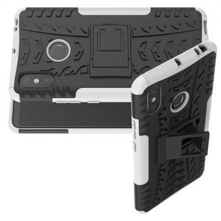 Двухкомпонентный Противоскользящий Гибридный Противоударный Чехол для Xiaomi Mi Max 3 с Подставкой Белый