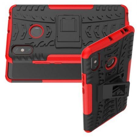 Двухкомпонентный Противоскользящий Гибридный Противоударный Чехол для Xiaomi Mi Max 3 с Подставкой Красный