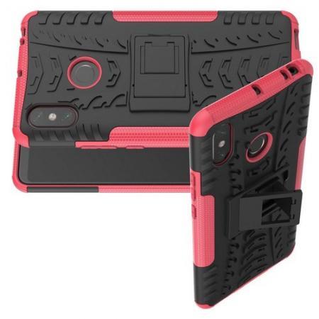 Двухкомпонентный Противоскользящий Гибридный Противоударный Чехол для Xiaomi Mi Max 3 с Подставкой Розовый