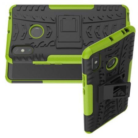 Двухкомпонентный Противоскользящий Гибридный Противоударный Чехол для Xiaomi Mi Max 3 с Подставкой Зеленый
